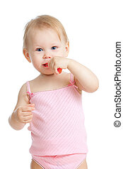 bébé, sourire, dents nettoyage