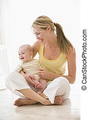 bébé, sourire, intérieur, mère, séance