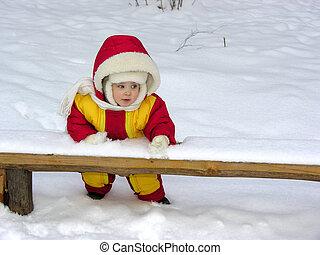 bébé, stand., hiver