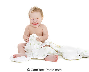 bébé, sur, blanc, couches, heureux