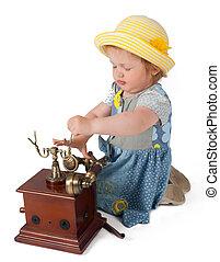 bébé, téléphone, petite fille