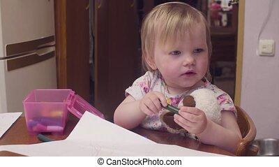 bébé, table, petite fille, dessin