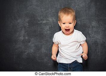bébé, tableau noir, vide, enfant