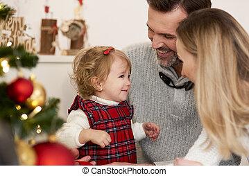 bébé, temps noël, famille