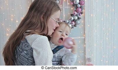 bébé, tenue, fronde, mère