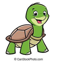 bébé, tortue, dessin animé