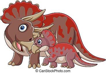 bébé, triceratops, dessin animé, elle
