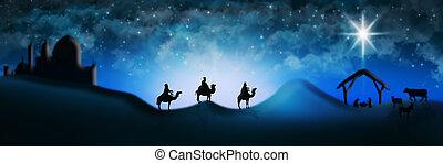 bébé, trois, scène, nativité, bethlehem, noël, mangeoire, hommes sages, magi, ville, illustration, distance, jésus, aller, rencontrer