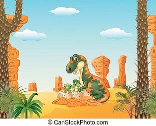 bébé, tyrannosaurus, mère