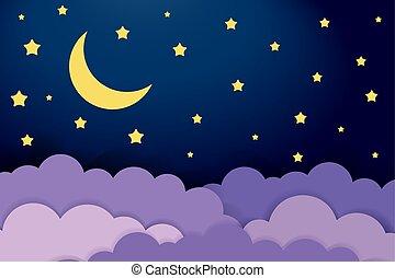 bébé, vecteur, lune, nuages, illustration, arrière-plan., sky., nuit, moitié, étoiles, sombre, scène, mignon