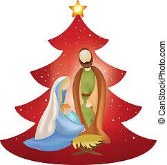 bébé, vecteur, mary, arbre, joseph, bras, scène, nativity noël, fond, rouges, jésus