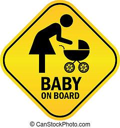 bébé, vecteur, planche, signe