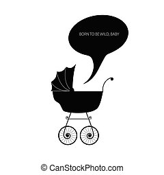bébé, vecteur, poussette