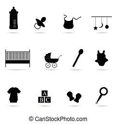 bébé, vecteur, silhouette, icône