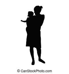 bébé, vecteur, silhouette, maman