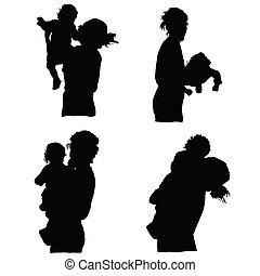bébé, vecteur, silhouette, tenue, mère