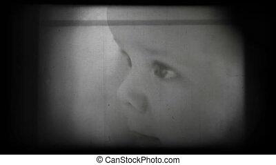 bébé, vendange, heureux, portrait, 8mm