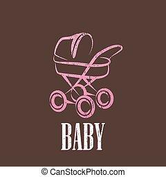 bébé, vendange, illustration, landau