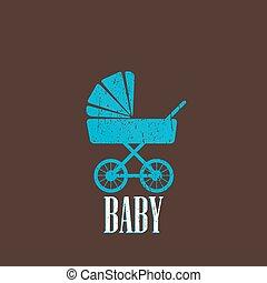 bébé, vendange, landau, illustration