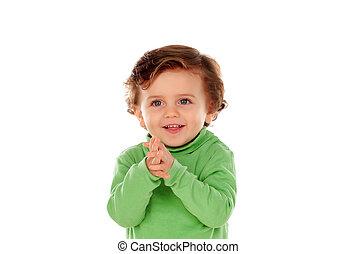 bébé, vert, adorable, chemise