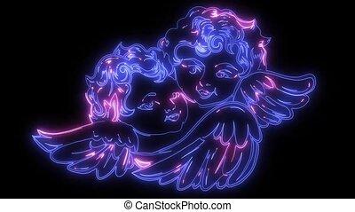 bébé, vidéo, animation, laser, ange