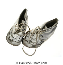 bébé, vieux, chaussures, porté