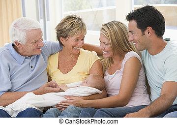 bébé, vivant, sourire, salle, famille