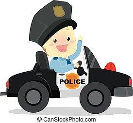 bébé, voiture, police, équitation, policier