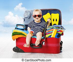 bébé, voyage, suitcase., gosse, bagage, tassé, pour,...