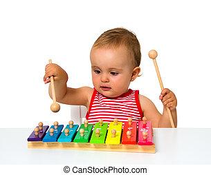 bébé, xylophone, jouer