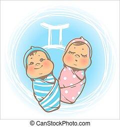 bébé, zodiaque, geminy
