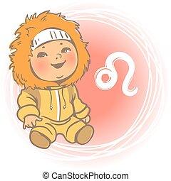 bébé, zodiaque, lion