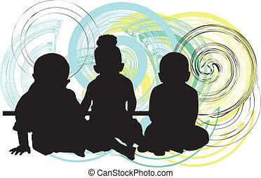 bébés, 3, vecteur, illustration