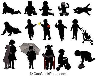 bébés, et, tout petits enfants, silhouettes