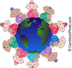bébés, mélangé ethnique