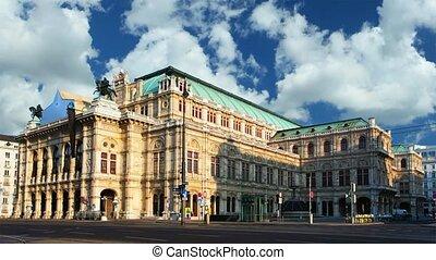 bécs, -, opera épület, idő megszűnés