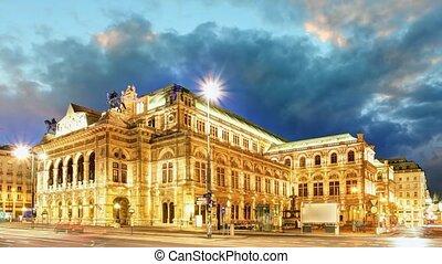 bécs, -, opera épület