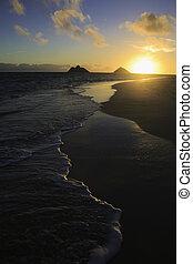 békés, napkelte, alatt, hawaii