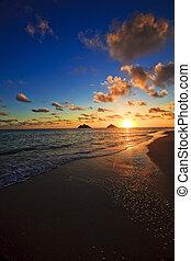 békés, napkelte, -ban, lanikai, tengerpart, hawaii