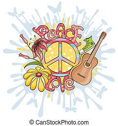 béke, és, szeret, vektor, ábra
