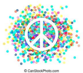béke, cégtábla., gyönyörű, jelkép, közül, peace.