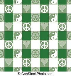 béke, pléd, alatt, zöld