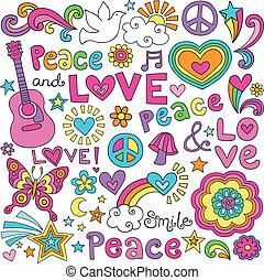 béke, szeret, megszokott, zene, doodles