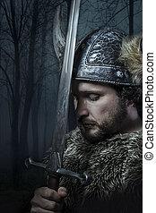 béke, viking, mód, öltözött, szakállas, barbár, kard, harcos...