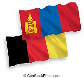 bélgica, banderas, plano de fondo, blanco, mongolia