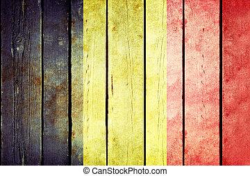 bélgica, de madera, grunge, bandera