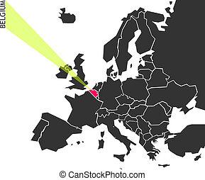 bélgica, -, político, mapa, de, europa