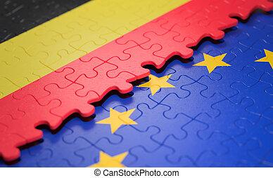 bélgica, união, quebra-cabeça, bandeira, europeu