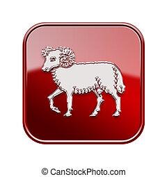 bélier, zodiaque, icône, rouges, isolé, blanc, fond