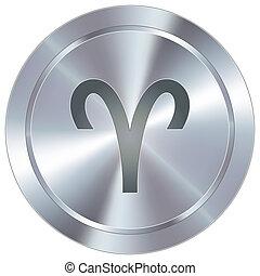 bélier, zodiaque, sur, industriel, bouton